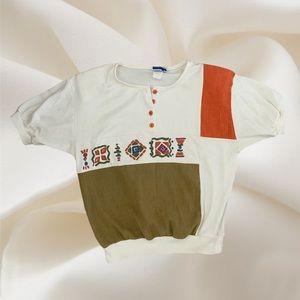 Vintage half button up blouse
